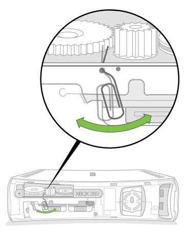 A cut-away view shows the end of a paper clip inserted into the eject hole of a console and touching a gear inside.