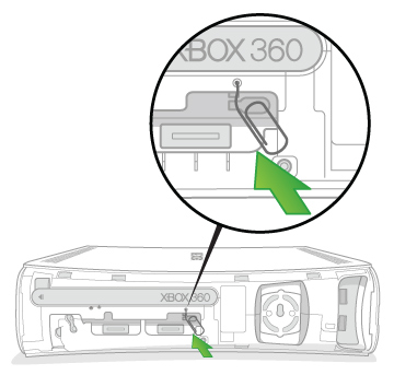 An arrow emphasizes the location on the back of an Original Xbox 360 as the end of a paper clip is inserted into the eject hole near the center.