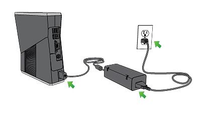 Настройка Xbox 360. Подсоедините консоль, блок питания и шнур питания