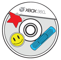 Stickers and a bandage are stuck to the top of an Xbox compact disc.