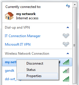 A screenshot shows the context menu for a wireless network, with the Properties command selected.