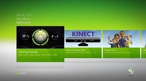 Страница приветствия панели управления Xbox 360