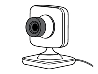 Drawing of an Xbox Live Vision camera