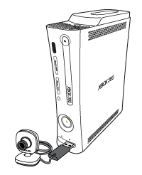 Drawing of an Xbox Live Vision camera plugged in to a USB port on the front of an Xbox 360 console