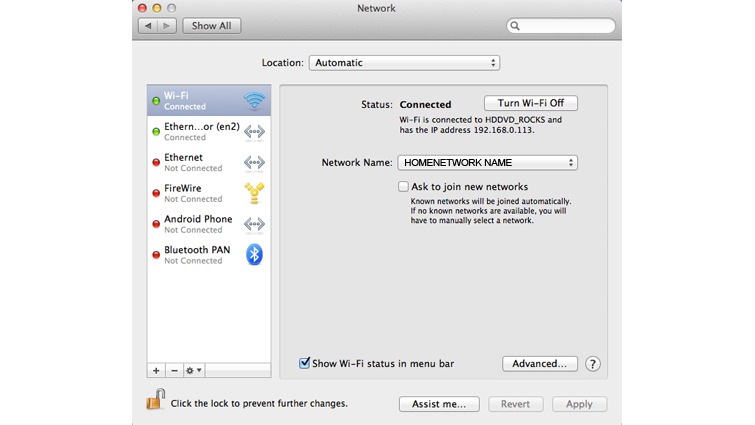 The Network System Preferences screen on a Mac computer, with Wi-Fi selected