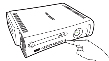 An index finger presses the connect button near the centre of the front of an Original Xbox 360 console.