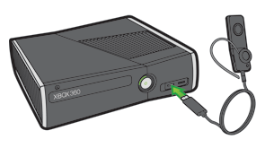 An illustration showing the charging cable for the wireless headset plugging into an Xbox 360 S console.