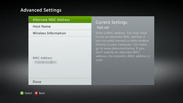 Advanced Settings displays the MAC address