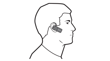 A drawing of a man using an Xbox 360 Wireless Bluetooth Headset