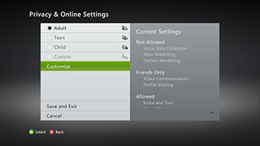 A screen shows the 'Privacy and Online Settings' screen with the Customize option highlighted.