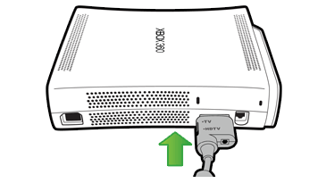 An illustration shows the A/V cable being plugged into the A/V port on the back of an original Xbox 360 console.