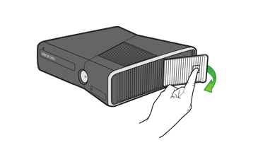 An illustration shows the location of the hard drive door on the Xbox 360 S console.