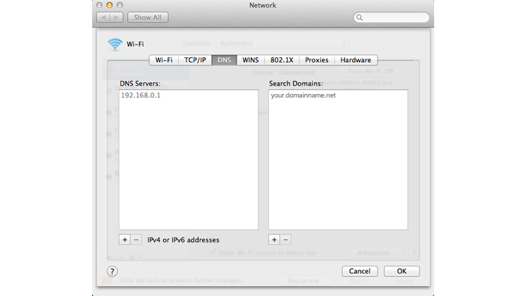 The Network System Preferences screen on a Mac computer, with the DNS tab selected