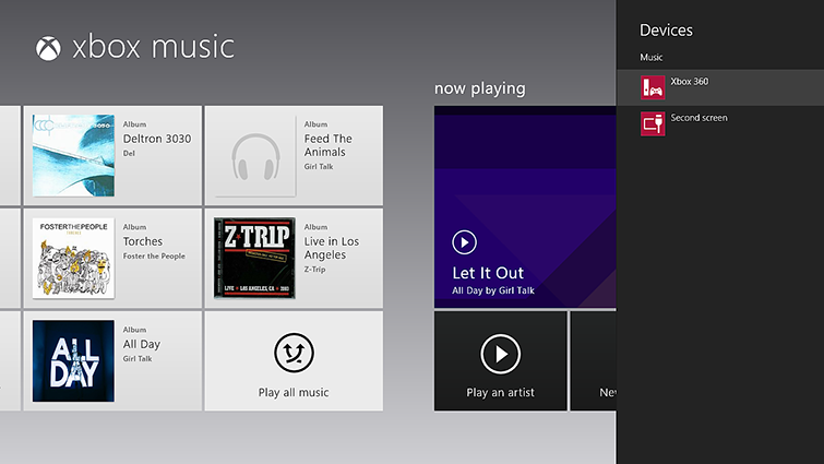 Het deelvenster Apparaten is geopend in Xbox Music en 'Xbox 360' is gemarkeerd.