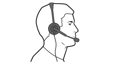 A drawing of a man wearing an Xbox 360 Wired Headset