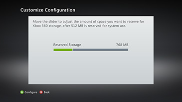 A sample 'Customise Configuration' screen, with the slider showing 768 MB of storage set aside for Xbox use