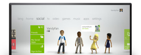 The social tab on the Xbox 360 Dashboard