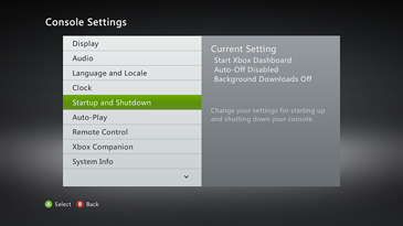 The Console Settings screen, with 'Startup and Shutdown' highlighted