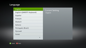 The Xbox Language option screen