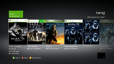 Bing search results for 'halo' on Xbox 360