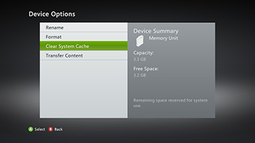 The Device Options screen, with the 'Clear System Cache' option highlighted