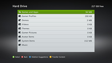 A screen shows the size of various categories of content on an Xbox 360 Hard Drive, such as 'Games and Apps' and 'Gamer Profiles'. There are buttons at the bottom labeled 'Select', 'Back', 'Deletion Suggestions', and 'Transfer Content'.