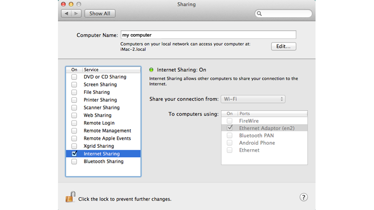 The Sharing System Preferences screen on a Mac computer, with the check box for Internet Sharing selected