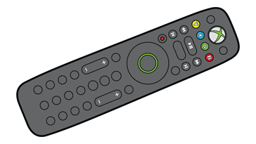An illustration of the Xbox 360 Media Remote