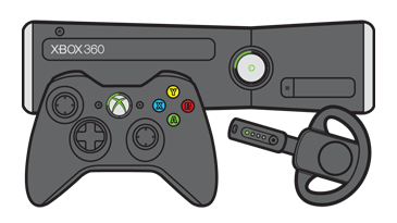 An Xbox 360 controller and a wireless headset in front of an Xbox 360 S console.