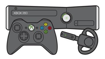 Xbox 360 S 本体の前にある Xbox 360 コントローラーとワイヤレス ヘッドセット。