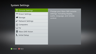 The System Settings screen, with 'Console Settings' highlighted