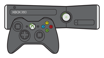 The upper-left quadrant is lit around the power button on an Xbox 360 S console and around the Guide button on a controller.