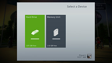 A screen shows the 'Select a Device' tab with the Xbox 360 Hard Drive highlighted.