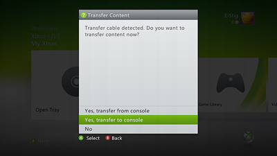 Xbox data transfer using the Xbox 360 transfer cable