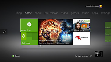 A sample Xbox home screen displaying a small window in the lower-right corner that shows what Kinect sees.