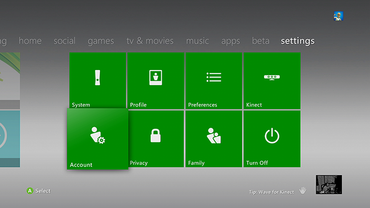 The Account tile is highlighted on the Xbox 360 settings page.
